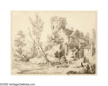 Old Master:Dutch, DUTCH SCHOOL (19th Century). Farm House on a Canal. Pencilon paper. 9.5in.x 12.5in.. ...