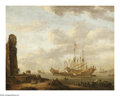 Old Master:Dutch, ABRAHAM JANSZ STORCK (Dutch 1644-1708). Ships Refitting inPort. Oil on canvas. 26.5in. x 33.5in.. Signed lower right.E...
