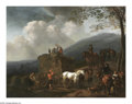 Old Master:Dutch, AELBERT CUYP (Dutch 1620-1691). Hay Harvest, 1660. Oil on panel. 20in. x 25.75in.. The painting was previously initialed...