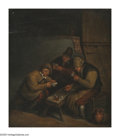 Paintings, Style of ADRIAEN VAN OSTADE (Dutch 1610-1685). Card Players. Oil on board. 11.75in. x 10.75in.. ...