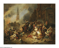 ADRIEN FERDINAND DE BRAEKETEER (Belgian 1818-1904) Battle for Antwerp Oil on canvas 23.75in. x 30in