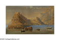 19th Century European:Landscape, ITALIAN SCHOOL (19th Century). Lago Maggiore. Watercolor onpaper. 20.75in. x 35.5in.. ...