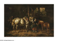 19th Century European:Barbizon, WILLEM JACOBUS BOOGAARD (Dutch 1842-1887). Feeding Horses in aBarn. Oil on panel. 10.25in. x 15.5in.. Signed lower left...