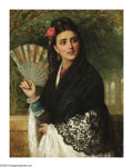 19th Century European:Orientalism, JAMES BAGNOLD BURGESS (British 1830- 1897). Lady with a Fan,1872. Oil on canvas. 36in. x 30in.. Signed and dated lower ...