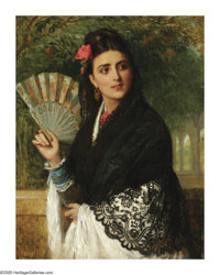 JAMES BAGNOLD BURGESS (British 1830- 1897) Lady with a Fan, 1872 Oil on canvas 36in. x 30in. Signed and dated lower