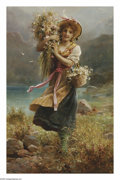 Paintings, HANS ZATZKA (Austrian 1859-1945). The Flower Girl. Oil on canvas. 30in.x 29in.. Signed lower left. ...