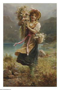 HANS ZATZKA (Austrian 1859-1945) The Flower Girl Oil on canvas 30in.x 29in. Signed lower left