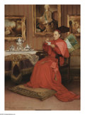 19th Century European:Romanticism, GEORGES CROEGAERT (Belgian 1848-1923). Cardinals at Leisure (pair). Oil on panel. 13in. x 9.5in.; 13.75in. x 10.5in.. Si... (Total: 2 )