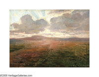 CARL BUDTZ-MOLLER (Danish 1882-1953) Sunset Landscape Oil on canvas 16.25in. x 23in. Signed and dated lower right I