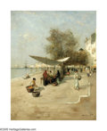 Impressionism & Modernism:European Impressionism, WILHELM VON GEGERFELT (German 1844-1920). Street Scene,1880. Oil on canvas. 15.5in. x 12.75in.. Signed lower right. ...