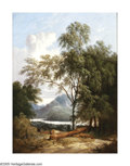 19th Century European:Landscape, JOHN BERNEY LADBROOKE (British 1803-1879). Landscape withmountains. Oil on canvas. 16in. x 12in.. Signed with initials...