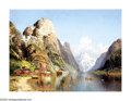 19th Century European:Landscape, JOSEPH HOLMSTEDT (Austrian 1841-1918). Village on a Fjord.Oil on canvas. 29in. x 39in.. Signed lower left. ...