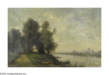 19th Century European:Landscape, CHARLES DESHAYES (French 1831-1895). River Landscape. Oil on canvas. 16.5in. x 24in.. Signed lower right. Paris makers s...