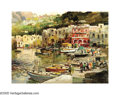 19th Century European:Landscape, FELICE GIORDANO (Italian 1880-1964) . Marina, Capri. Oil oncanvas. 12in. x 16in.. Signed lower right. Provenance: Flore...