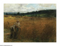 19th Century European:Barbizon, LEON AUGUSTIN LHERMITTE (French 1844-1925). HarvestingWheat. Pastel on paper mounted on board. 10.25in. x 13.75in..Sig...