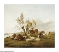 19th Century European:Landscape, THOMAS SIDNEY COOPER (British 1803-1902). Cows and Sheep.Oil on canvas. 24in.x 27.5in. Signed lower center. ...