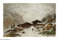 19th Century European:Landscape, GUSTAVE EUGENE CASTAN (Swiss 1823-1892). Chalets in the SwissAlps. Oil on canvas laid down on board. 15.25in. x 23.25in...