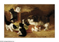 19th Century European:Romanticism, LOUIS EUGENE LAMBERT (French 1825-1900). Kittens. Oil onboard. 24in.x 26.75in. Signed lower left. ...