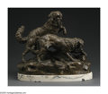 Bronze:European, CHARLES VALTON (French 1851-1918). Dog Hunt. Bronze.19.5in.x 10in.x 18.5in.. Signed on base: Ch. Valton. ...