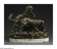 CHARLES VALTON (French 1851-1918) Dog Hunt Bronze 19.5in.x 10in.x 18.5in. Signed on base: Ch. Valton