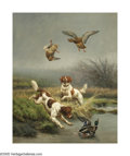 19th Century European:Symbolism, JULES BERTRAND GELIBERT (French 1834-1916). Duck Hunting,1879. Oil on canvas. 31.5in.x 26in.. Signed and dated lower le...