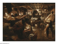 JEAN ANDRE CASTAIGNE (French 1861-1930) Underdeck, Voyage to America, 1913 Oil on canvas 25.5in. x 34.5in. Signed lo