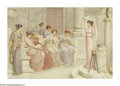 19th Century European:Neoclassical, WILLIAM ANSTEY DOLLAND (BRITISH 1880-1911). Ancient Rituals.Watercolor on board. 22in. x 32in.. Signed lower right. ...
