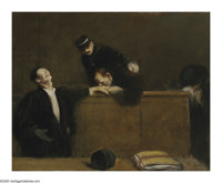 JEAN LOUIS FORAIN (French 1852-1931) Sentenced for Life Oil on canvas 25.75in. x 32in. Signed lower right  Exhibit