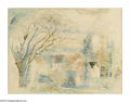 Impressionism & Modernism:Fauvism, JEAN DUFY (French 1888-1964). Maison dans La Campagne.Watercolor on paper. 19.5in. x 25.5in.. Signed lower right. Bri...
