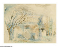 JEAN DUFY (French 1888-1964) Maison dans La Campagne Watercolor on paper 19.5in. x 25.5in. Signed lower right  Bri