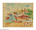 Impressionism & Modernism:post-Impressionism, RAOUL DUFY (French 1877-1953). Harbor Scene. Watercolor onpaper. 11.75in.x 14in.. Signed lower center with Atelier Raou...