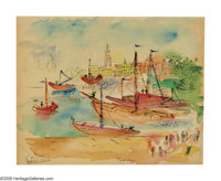 RAOUL DUFY (French 1877-1953) Harbor Scene Watercolor on paper 11.75in.x 14in. Signed lower center with Atelier Raou