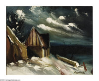 MAURICE VLAMINCK (French 1876-1958) Paysage de Niege Oil on canvas 13in. x 16in. Signed lower right Label on revers