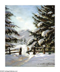 Impressionism & Modernism:European Impressionism, KONSTANTIN ALEXANDROVICH WESCHILOFF (Russian 1877-1945). WinterLandscape. Oil on canvas. 22in. x 18in.. Signed lower ri...