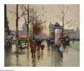 Impressionism & Modernism:post-Impressionism, EDOUARD LEON CORTES (French 1882-1969). Place de laChatelet. Oil on canvas. 18in.x 22in.. Signed lower left. BrianRo...