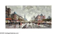 SCHOOL OF PARIS (20th Century)Parisian Boulevard Oil on canvas 24in. x 48in. Signed lower right: Pierre