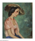 Impressionism & Modernism:French Impressionism, Style of FRANCOIS GALL (French 1912-1987). Girl in a StrawHat. Oil on board. 18.75 x 15.5in.. Signed lower right. ...