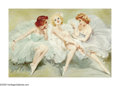 Paintings, MARIA SZANTHO (Hungarian 1898-1984). Three Ballerinas. Oil on board. 24in. x 36in.. Signed lower right. ...