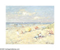 Impressionism & Modernism:European Impressionism, NIEK VAN DER PLAS (Dutch b. 1954). Beach Scene. Oil onboard. 8in. x 10in.. Signed lower right. ...
