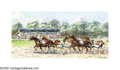 Impressionism & Modernism:European Impressionism, NIEK VAN DER PLAS (Dutch b.1954). Trotting Horse Race. Oilon board. 10 x 20in.. Signed lower right. ...