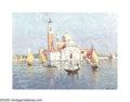 Impressionism & Modernism:European Impressionism, NIEK VAN DER PLAS (Dutch b.1954). A Day on the Water,Venice. Oil on board. 12 x 16in.. Signed lower right. ...