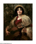 American:Portrait & Genre, CHARLES PAUL GRUPPE (American 1860-1940)Gypsy Girl PlayingGuitar. Oil on canvas. 35.25in. x 28in.. Signed lower right....