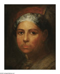 American:Ashcan, FRANK DUVENECK (American 1848-1919). Spanish Girl. Oil oncanvas. 11in. x 9in. Signed with monogram on reverse. ...