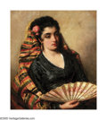 American:Portrait & Genre, GEORGE HENRY HALL (American 1825-1913). Spanish Girl withFan. Oil on canvas laid down on board. 12.75in. x 11.25in..Si...