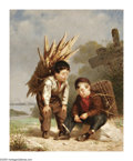 American:Portrait & Genre, WILLIAM P. MORGAN (American 1826-1900). Two Boys, c.1860 .Oil on canvas . 12in. x 10in.. Signed lower right. ...