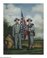 Manner of WILLIAM AIKEN WALKER (American 1838-1921) Two Confederate Soldiers Oil on board 10in.x 8in. Signed lower l