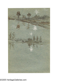 JASPER F. CROPSEY (American 1823-1900) Stephens Hollow (double sided) Mixed media on colored paper 4.5in. x 6in. In