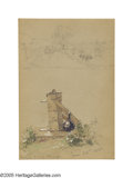 American:Hudson River School, JASPER F. CROPSEY (American 1823-1900). Water Pump and RiverScene, June 1880. Mixed media on paper. 7in. x 4.5in.. 'Ins...