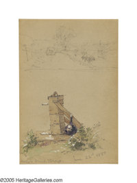 JASPER F. CROPSEY (American 1823-1900) Water Pump and River Scene, June 1880 Mixed media on paper 7in. x 4.5in. 'Ins