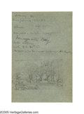American:Hudson River School, JASPER F. CROPSEY (American 1823-1900). Sketch of RailroadCrossing. Pencil on colored paper. 7in. x 4.5in. (sight size).In...